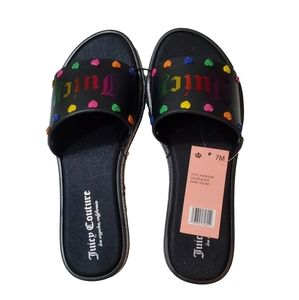 NWT Juicy Couture Rainbow Heart Slide Sandals